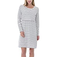 Smallshow Women's Nursing Dress Long Sleeve Stripes Breastfeeding Dresse