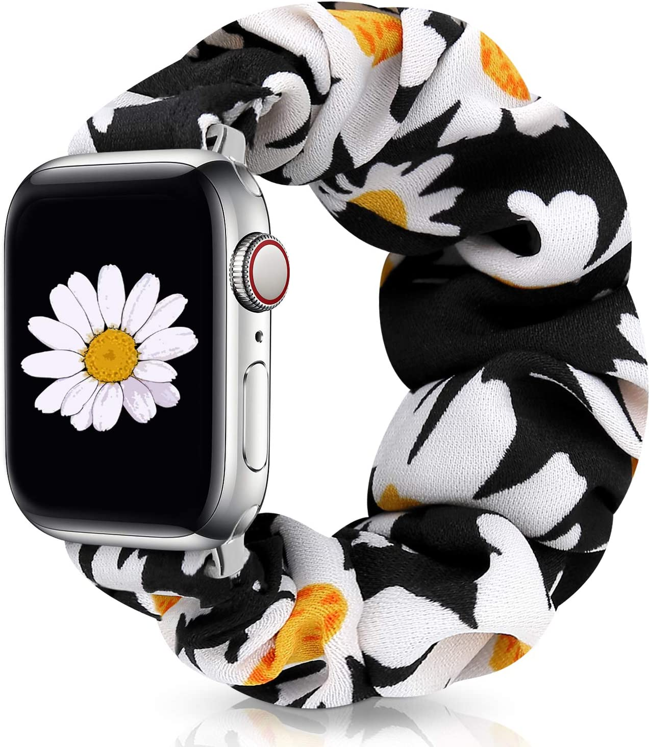 JIELIELE Compatible with Scrunchie Apple Watch Band 38mm 40mm 42mm 44mm for Women, Cute Fabric Wristbands Straps Elastic Scrunchy Band for iWatch Series 6 5 4 3 2 1 SE (M-42/44 Daisy)