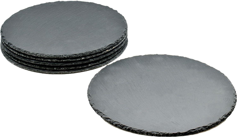 Sets de table en ardoise - naturel/rond - lot de 6 Argon Tableware