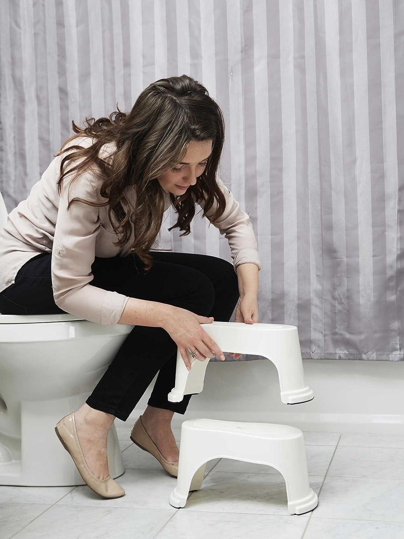 Evron Ultraportable Tabouret De Toilette 17,8cm empilable bain accroupi tabouret blanc Original compacte conception empilable pour stockage peu encombrant et sur les frais de voyage aller Unicum