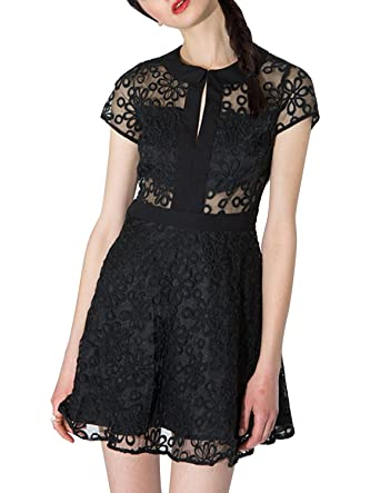 Haoduoyi Womens Vintage Sheer Lace Hollow Out A-line Cocktail Party Mini Dresses (S