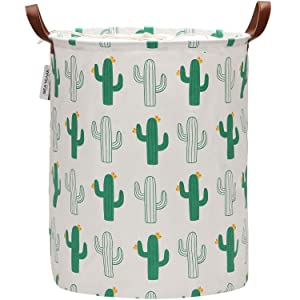 "Sea Team 19.7"" x 15.7"" Large Sized Folding Cylindric Waterproof Coating Canvas Fabric Laundry Hamper Storage Basket with Drawstring Cover (Cactus)"