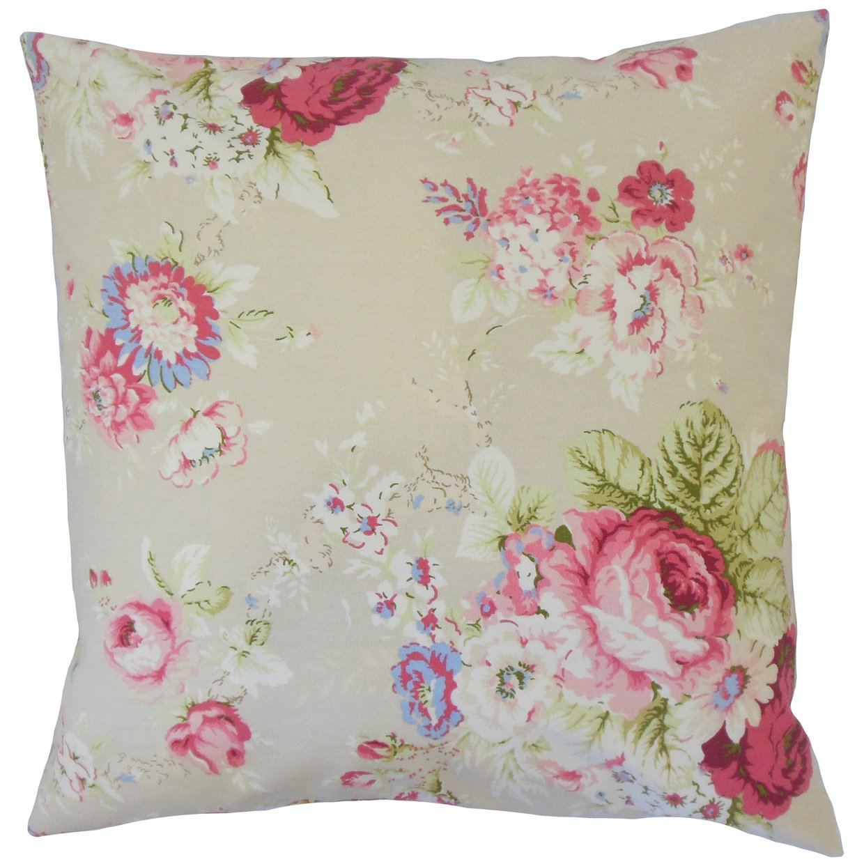 Linen The Pillow Collection P18-WAV-678004-SANCTUARYROSE-LINEN-C100 Ulyciana Floral Pillow