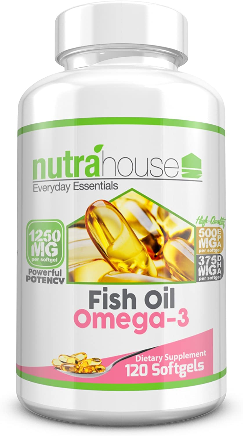 Fish Oil Omega 3 1250 mg with Powerful EPA & DHA per Individual Softgel   Best Cardiovascular, Cognitive, and Immune Support   120 Count   Fish Oil Omega-3 by NutraHouse