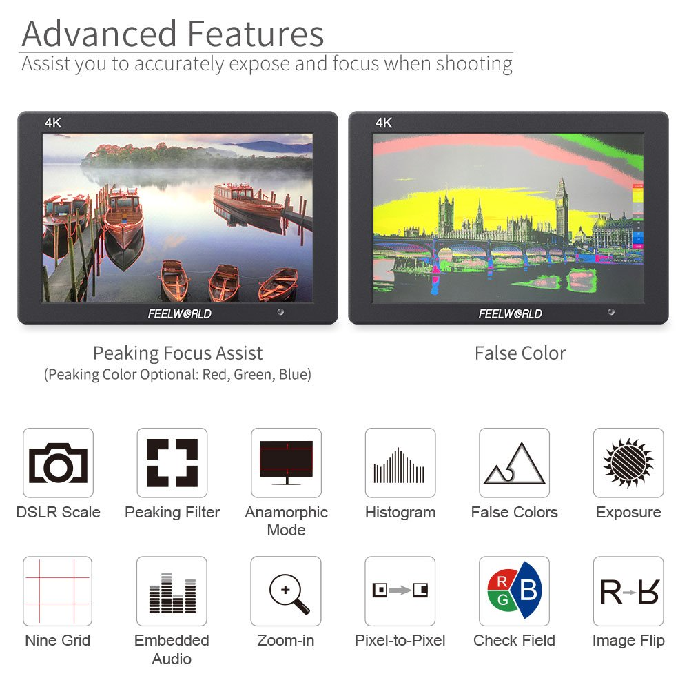 FEELWORLD T7 7 Inch IPS 4K HDMI Camera Field Monitor Video Assist Full HD 1920x1200 Solid Aluminum Housing DSLR Monitor with Peaking Focus False Colors by FEELWORLD (Image #6)