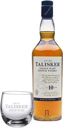 Talisker 672288 - Talismán (10 años, varios colores, escocesa, whisky, alcohol, alcohol, botella, 45,8 %, 700 ml, incluye vaso gratis)