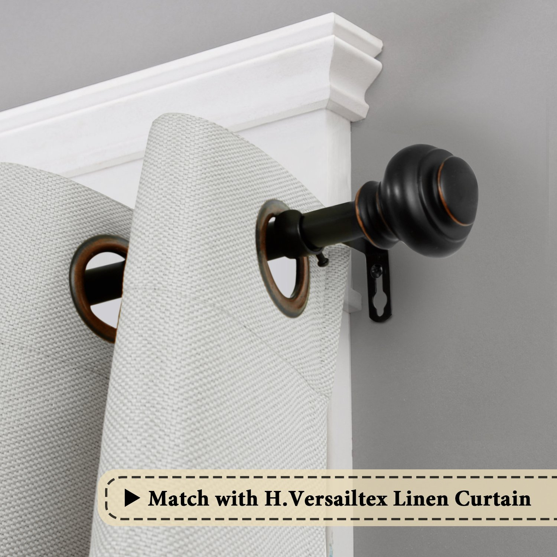 H.VERSAILTEX Window Curtain Rod, Adjusts Rod Length from 48 to 84-Inch,3/4 - Inch Diameter, Black (Antique Bronze Finishing) by H.VERSAILTEX (Image #3)