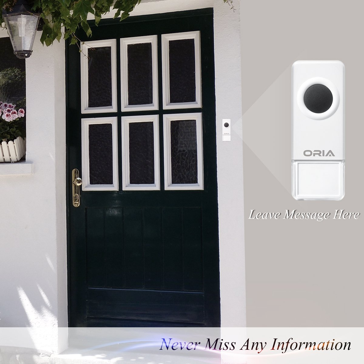 Portable Easy Chime Plug-in Wireless Doorbell Operating over 900 feet(open air), Range with 52 Chimes,CD Quality Sound and LED Flash.No Batteries Required by AMIR (Image #6)