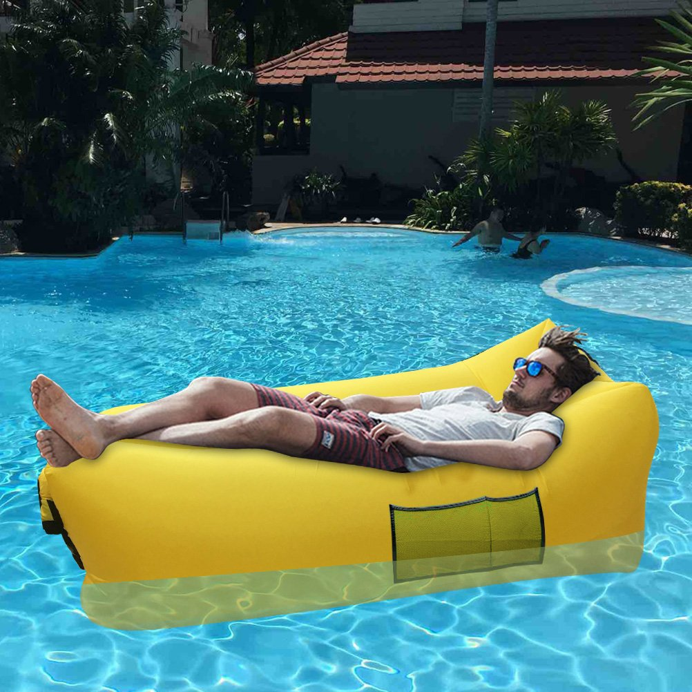 inflatable pool furniture. Outdoor Inflatable Lounger, Funfest Fast Lounger Air Filled Balloon Furniture, Hangout Bean Bag, Sleeping Lazy Sofa, Portable Waterproof Pool Furniture L