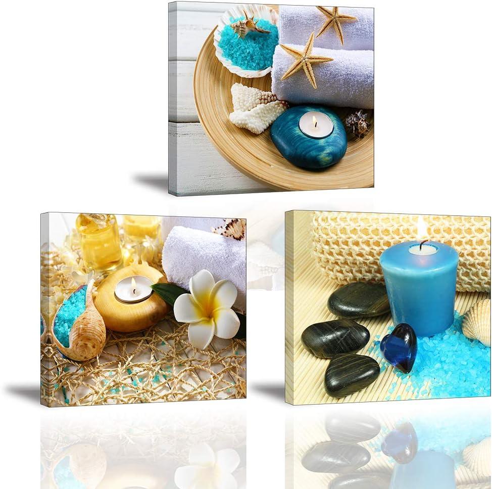 Piy Painting Cuadro en Lienzo del Zen Vela Azul Medicina Piedra 3X Pinturas murales Ambiente romantico Decoración Impresiones de Lienzo Sala de Estar Dormitorio 30x30cmx2.5cm