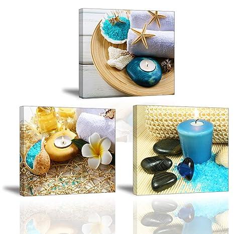 Piy 3X Impression Contemporain Zen sur Toile Spa Yoga Peinture en Bleu  Bougie Pierre de médecine Tableaux Home Déco,Impermeable, Prête à Poser,  Mur ...