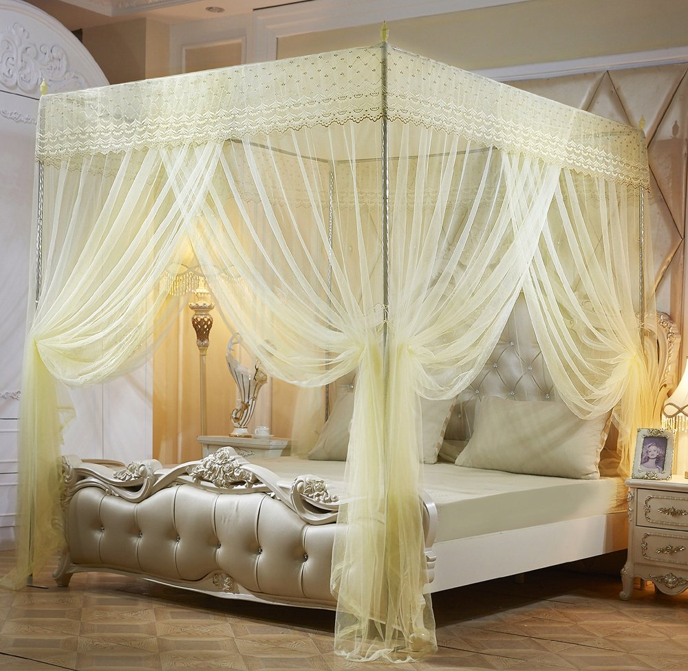Amazon.com: Mengersi Princess Canopy Bed Curtains For Girls Bed ...