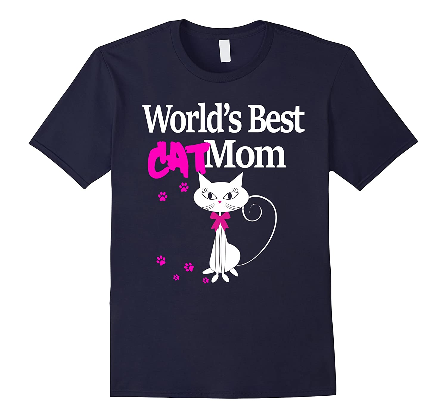 Worlds Best Cat Mom T Shirt  Mothers Day-TD