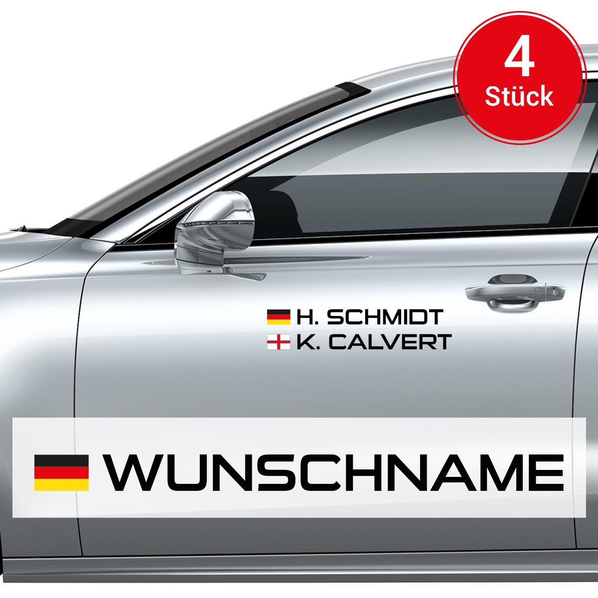 Motoking Autoaufkleber Name & Flagge - 4 Stü ck - Ihr Wunschname im Rallye-/Racing-Design - Wä hle Grö ß e & Farbe