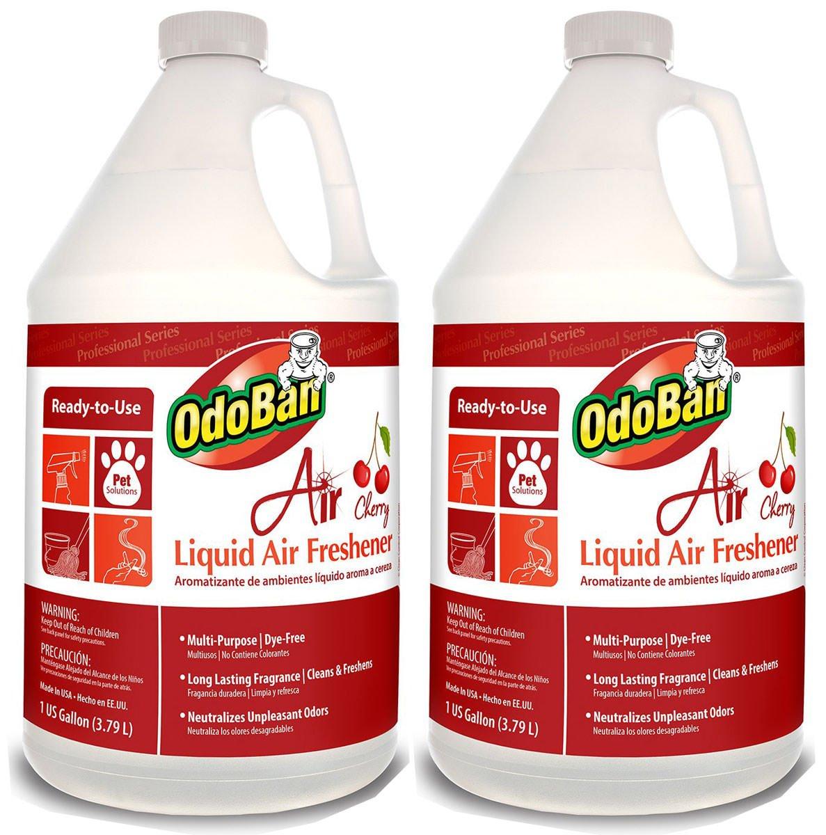 OdoBan 977362-G Air Cherry Liquid Air Freshener, 1 Gallon Bottle, 2 Pack