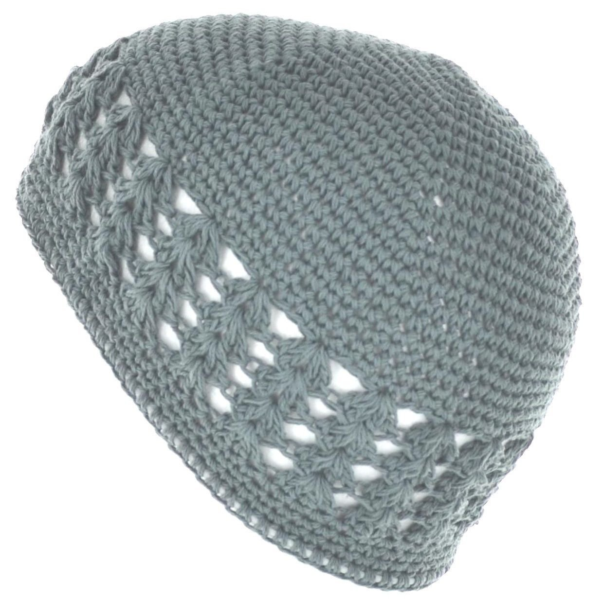 LJL Design 100% Cotton Kufi Crochet Beanie Skull Cap Knit Hat Brand New 19 Different Colors (Silver)