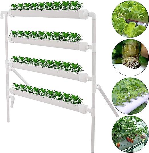 HUKOER Kit de cultivo de sitio hidropónico 36 sitios y flujo Cultivo de aguas profundas Jardín con bomba Sistema de bronceado de vegetales, flores, frutas (Vertical 30 hoyos): Amazon.es: Jardín
