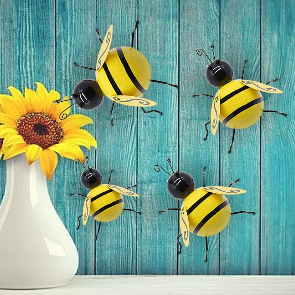 Juegoal Metal Wall Art Bee 3D Sculpture, Inspirational Wall Decor Hanging for Indoor and Outdoor, 4 Pack