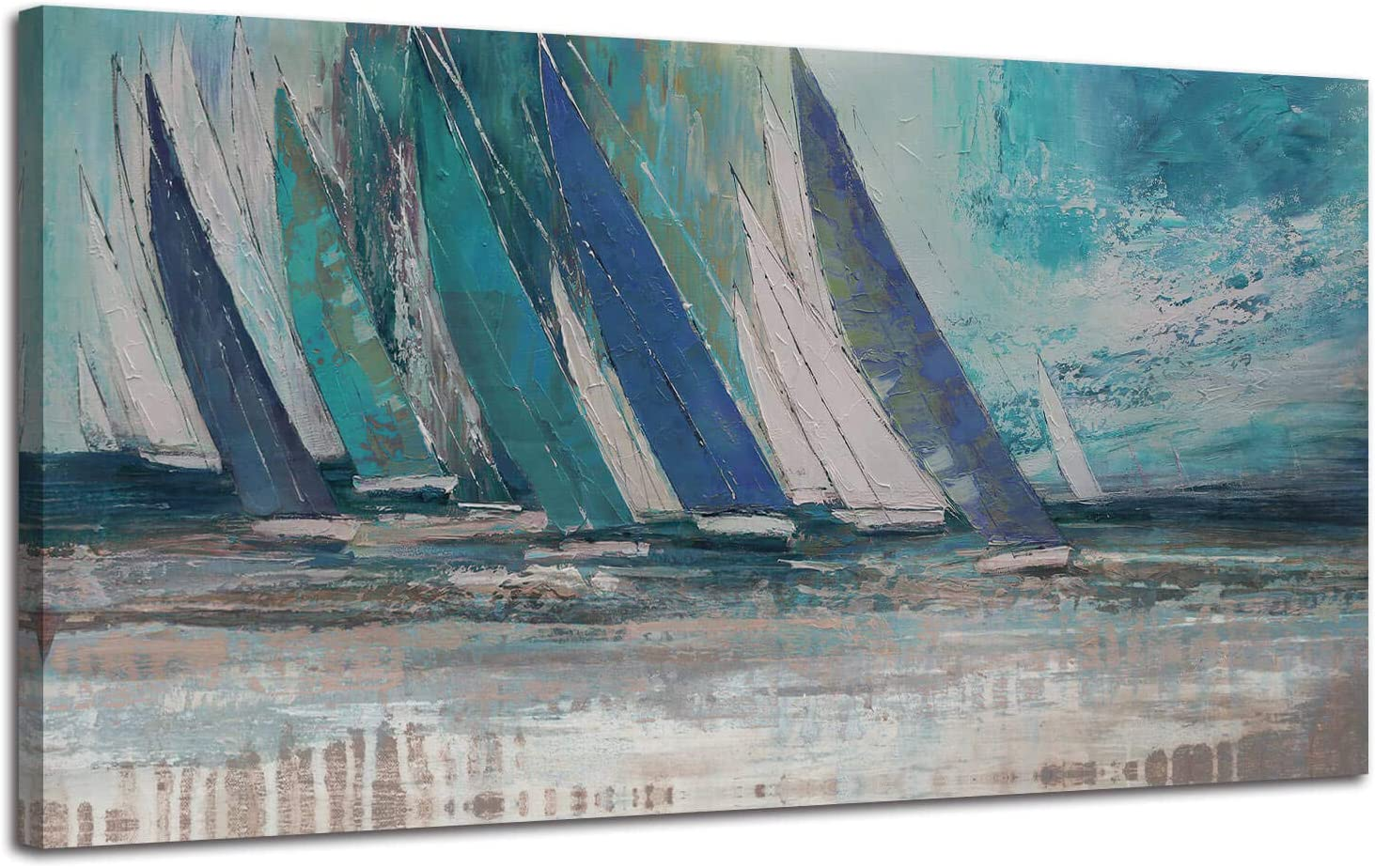 Ocean Sailboat Picture Modern Coastal Painting