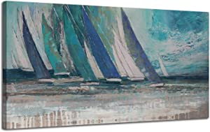 """Arjun Canvas Wall Art Abstract Blue Ocean Sailboat Picture Modern Coastal Painting, Large Size Prints Framed 48""""x24"""" One Panel Artwork for Living Room Bedroom Kitchen Dining Room Home Office Decor"""