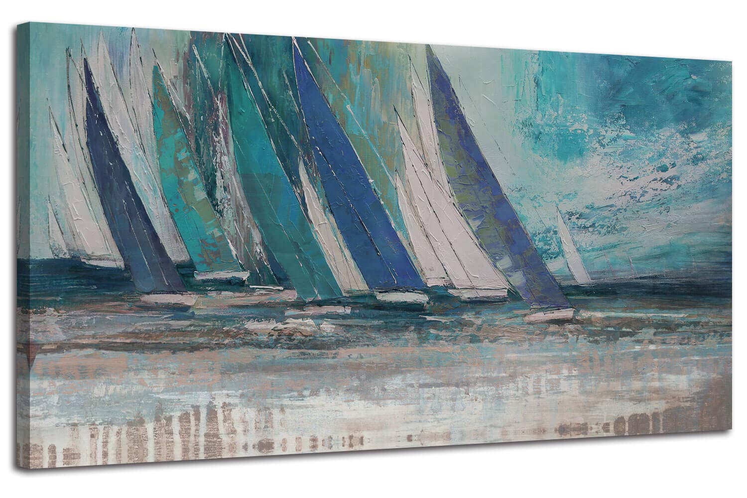 "Arjun Canvas Wall Art Abstract Blue Ocean Sailboat Picture Modern Coastal Painting, Large Prints Framed 40""x20"" One Panel Artwork for Living Room Bedroom Kitchen Dining Room Home Office Decor"