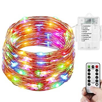 string lights angoo battery operated remote control christmas lights waterproof 100 led multi color