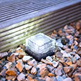 Lighten Glimmer Pack of 3 Solar Lights Garden AA NI-MH 300mA LED Buried Underground Brick Rock Lamp Waterproof IP68 Solar Pathway Lights Cool White