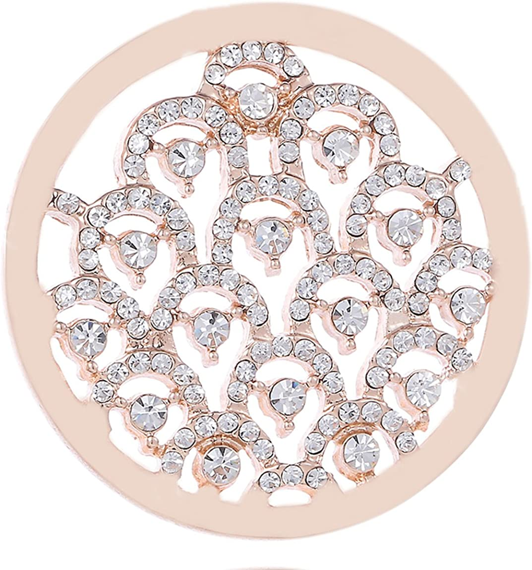 Morella Donna Coins Moneta Ciondolo Rotondo 33 mm con zirconi