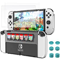 TiMOVO Case for Nintendo Switch OLED Model 2021, Protective case with 2 Tempered Glass Screen Protectors & 6 Thumb Grip…