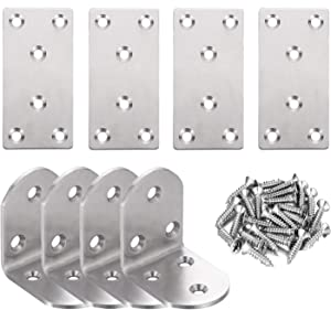 8pcs Mending Plates Angle Corner Brace Sets,Double Wide Flat Bracket Metal Straight Brace,L Brackets for Wood Shelves Furniture Cabinets