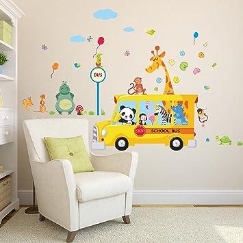 Amazon.com: Suyunyuan DIY Cartoon Animals School Bus Wall Stickers ...