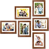 """Art Street Decorative Premium Set of 6 Individual Wall Photo Frame (8"""" X 10"""" Picture Size matted to 6"""" x 8"""") - Brown"""