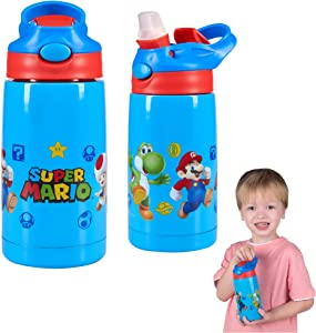 Franco Kids Double Wall Vacuum Insulated Stainless Steel Water Bottle, 14-Ounce, Super Mario