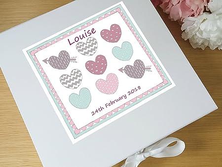 Bebé niña caja de recuerdos, Memory Box, pastel corazones ...