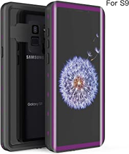 Fansteck Samsung Galaxy S9 Waterproof Case, IP68 Waterproof/Snowproof/Shockproof/Dirtproof, Full-Body Protective Case with Built-in Screen Protector for Samsung Galaxy S9 (5.8 inch-Black/Purple)