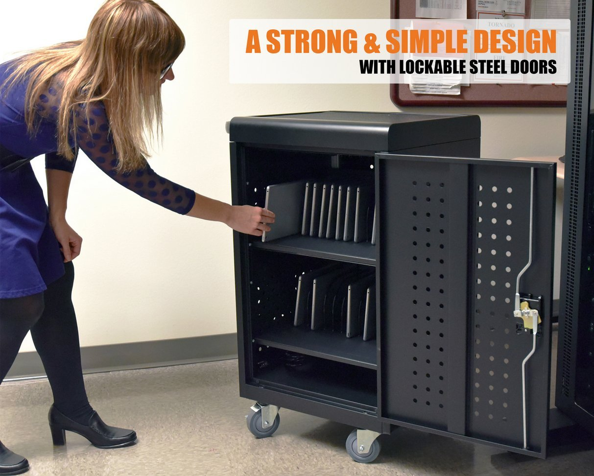 Line Leader Compact Mobile Charging and Storage Cart, Mobile Lab Holds 30 Tablet/Chromebook | Includes Two 15-Outlet Power Strips | Locking Cabinet | Perfect for Schools and Classrooms! by Stand Steady (Image #5)