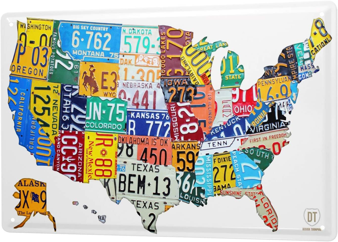 LEotiE SINCE 2004 Tin Sign Metal Plate Decorative Sign Home Decor Plaques 30 x 40 cm World Trip United States map