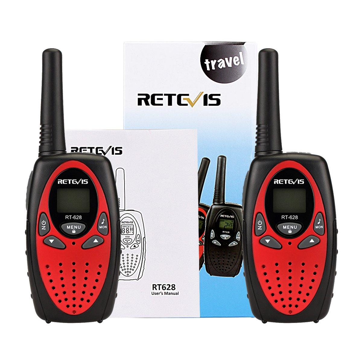 Retevis RT628 Walkie Talkies 22CH VOX FRS License-Free 2 Way Radios UHF Handheld Two Way Radio(4 Pack,Red) by Retevis (Image #7)