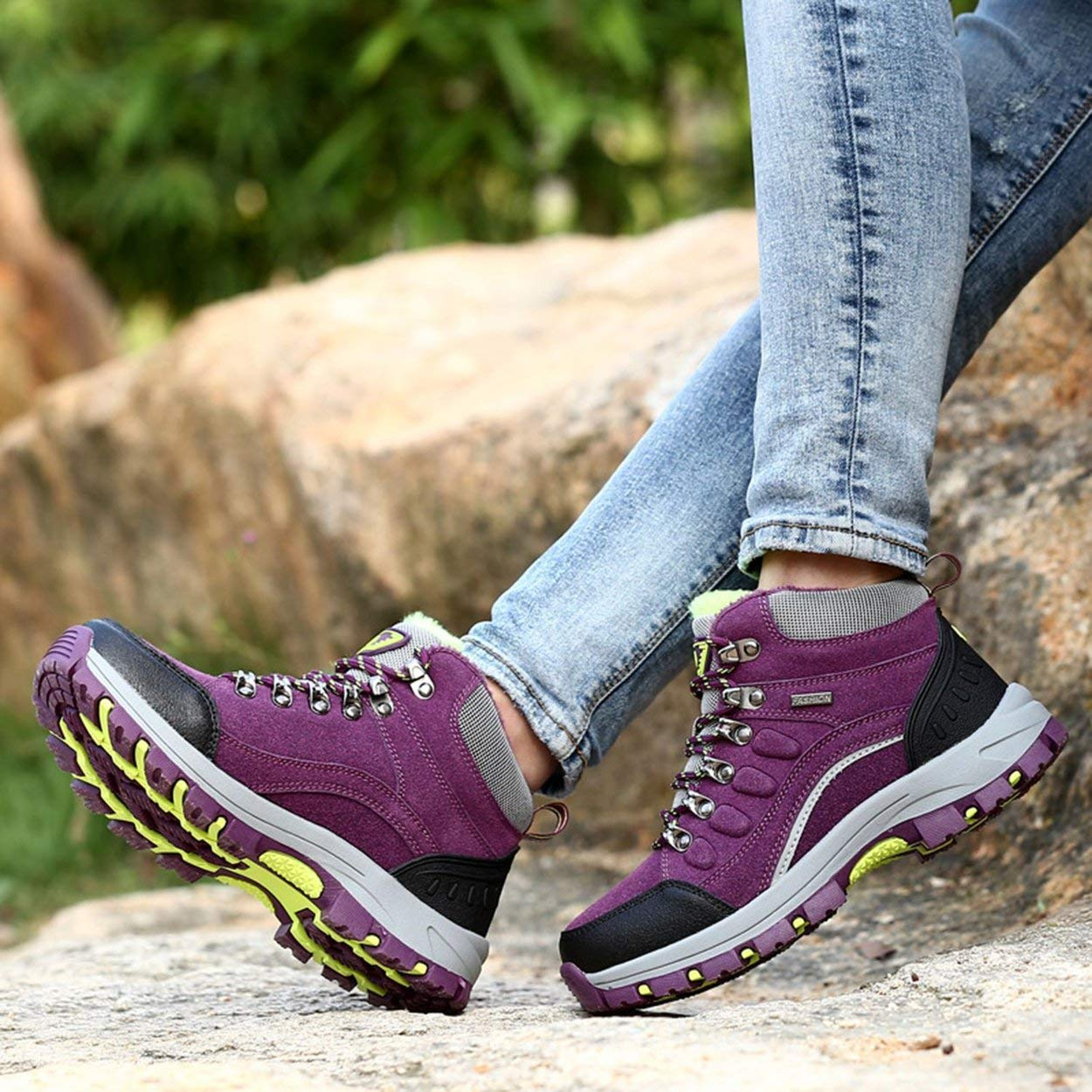 Winter Outdoor Plus-Down Warm Klettern Schuhe Lace-Up Frauen Wanderschuhe Lässige Sport Anti-Rutsch Atmungsaktive Schuhe