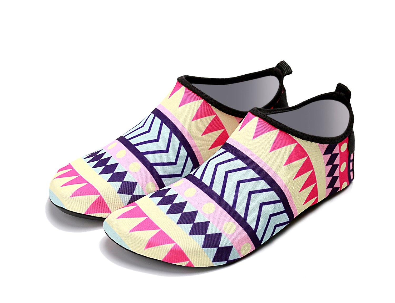 LIFE ON Mens Womens Beach Water Shoes Swim Shoes Quick-Dry Aqua Socks Pool Shoes for Surf Yoga Water Aerobics(Ethnic Style,M Size US 7-8 23.3cm)