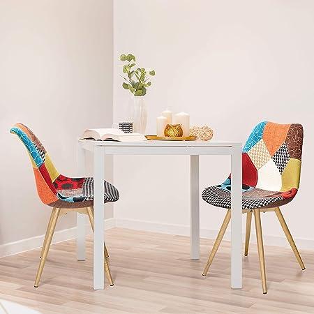 VADIM Set di 2 Sedie da Pranzo Scandinave, Sedie da Cucina Imbottite in Tessuto Patchwork, Sedie Design Solido con Gambe in Metallo, Rovere