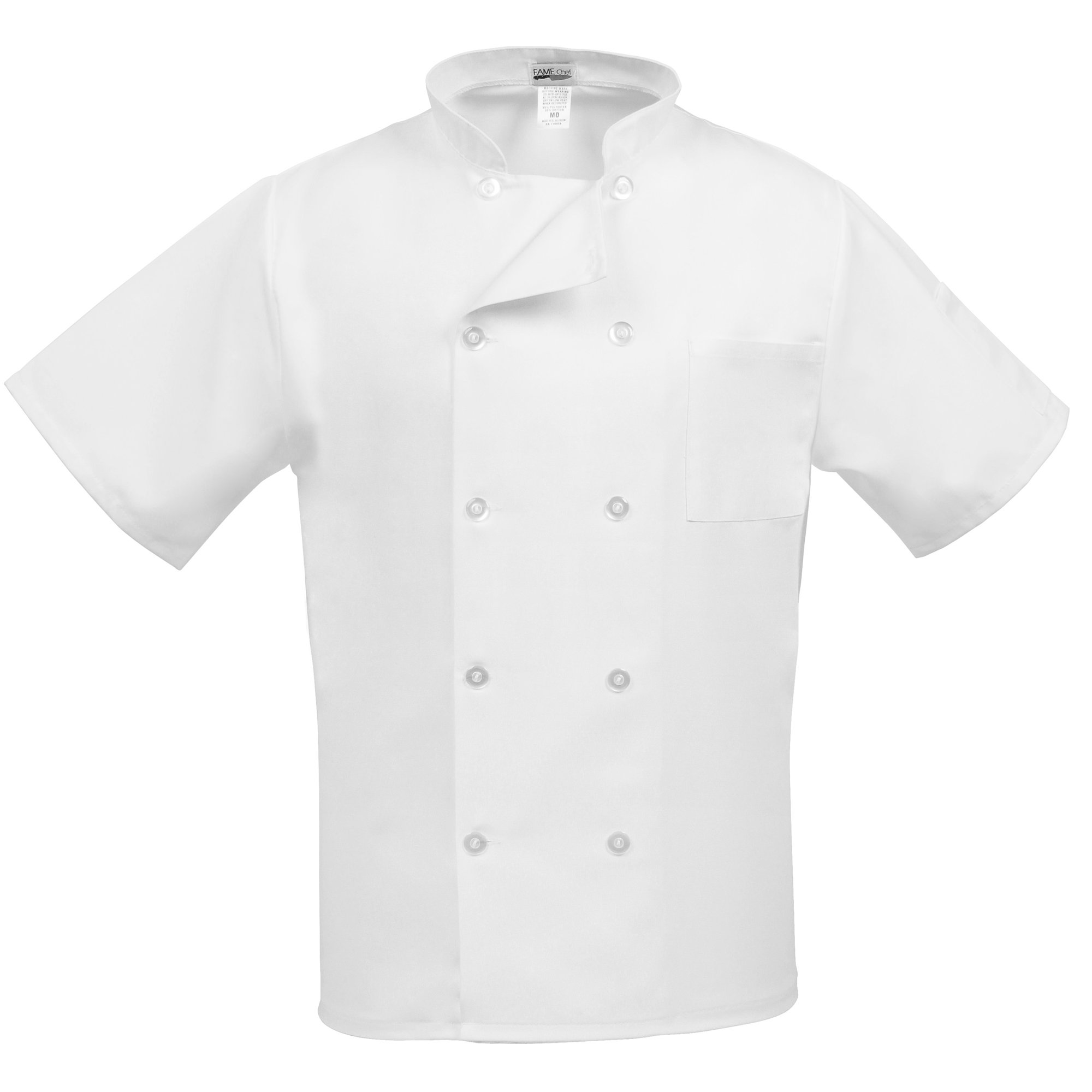 Fame Adult's Short Sleeve Chef coat -White-Medium