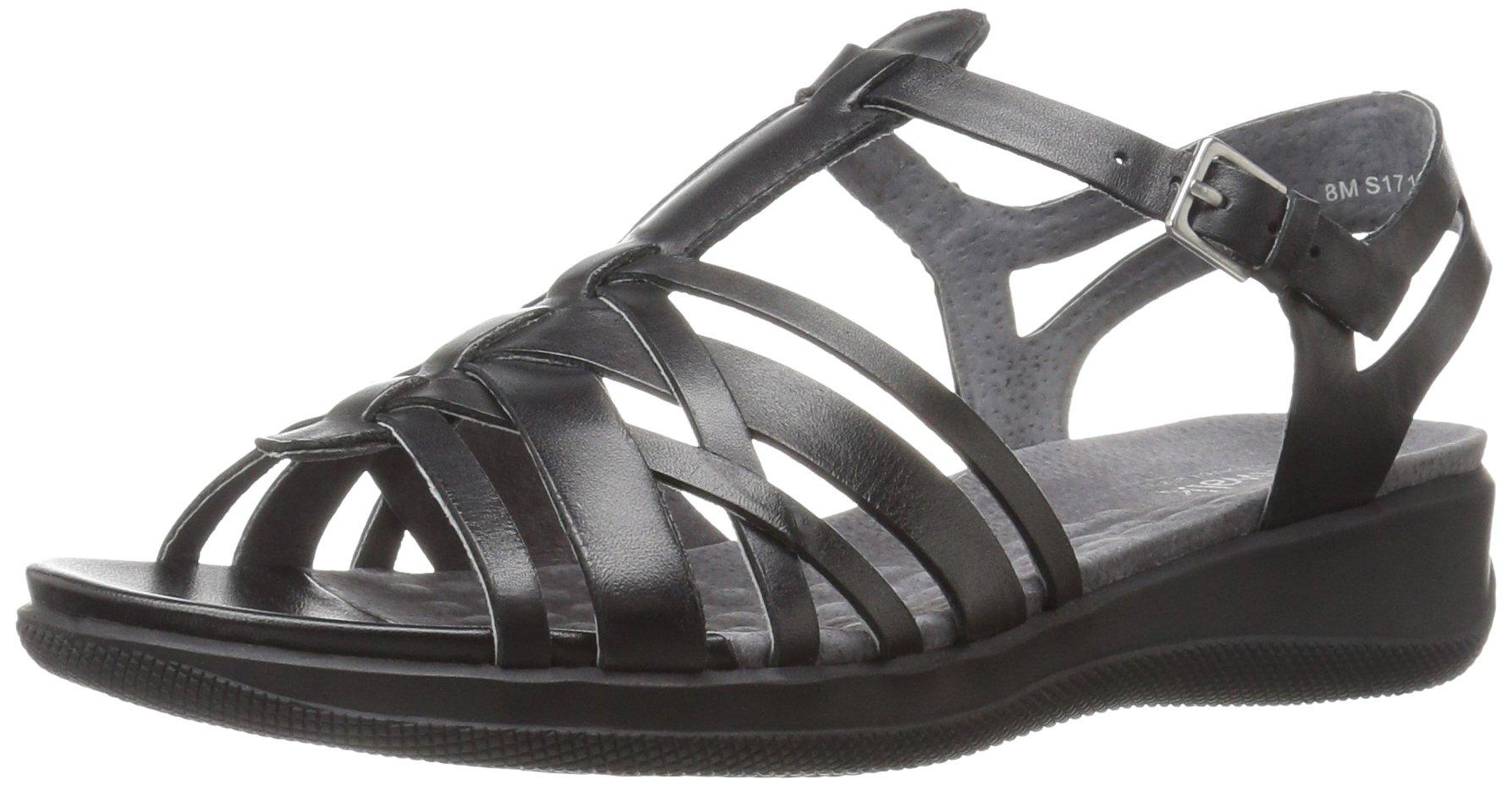 SoftWalk Women's TAFT Wedge Sandal, Black, 11 N US