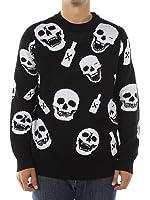 Men's Drunk Skeleton and Skulls Halloween Sweater by Tipsy Elves