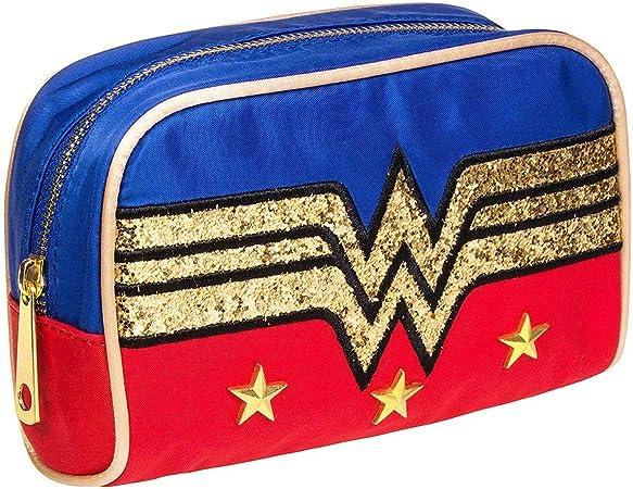 Bolsa de maquillaje con purpurina con el logo de la Mujer Maravilla.: Amazon.es: Equipaje