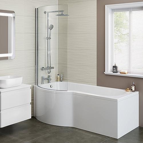 1700mm Designer Shower Bath P Shape Left Hand Bathtub Panel With Screen