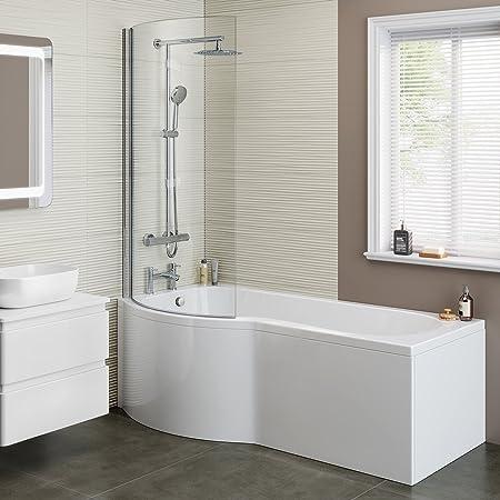 1700mm Designer Shower Bath P Shape Left Hand Bathtub Panel with ...