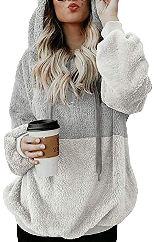 NANYUAYA Women Long Sleeve Zipper Casual Sweatshirt Sherpa Pullover Winter Outwear