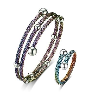 Gnzoe Damen Armband Ringe Set Drahtringe Doppelschicht Drahtarmband ...