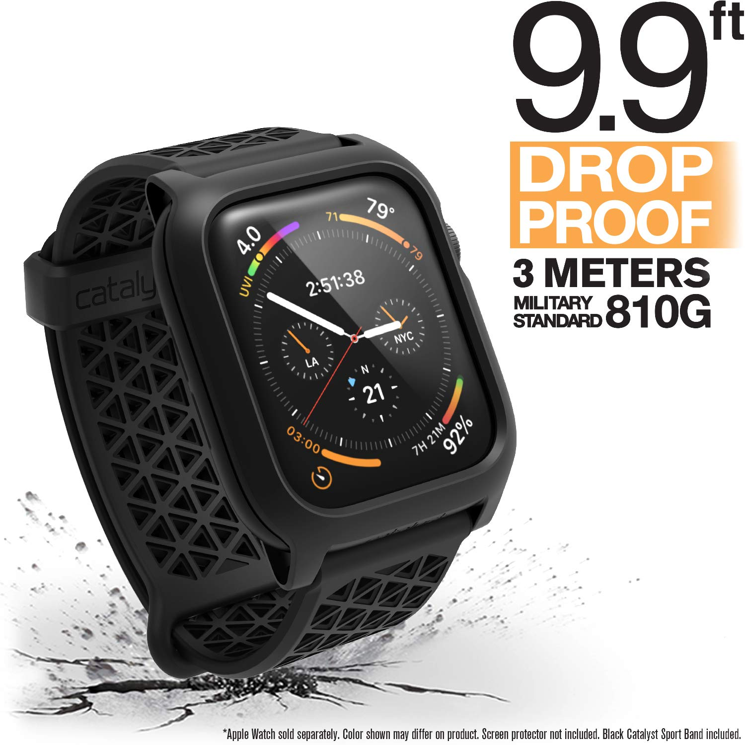 Catalyst Apple Watch Series 4 Impact Case 44mm ECG and EKG Compatible Superior Sport Band Rugged iWatch Protective Case, Drop Proof Shock Proof Apple Watch Case, Stealth Black by Catalyst